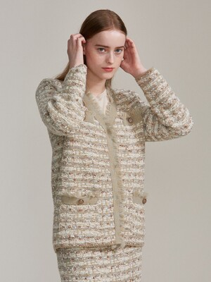 tweed knit jacket (2colors)