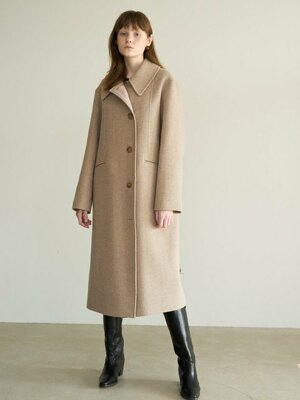 20' Winter_Oatmeal A-Line Belted Wool Coat