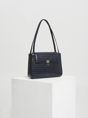 Mari classic bag - croc deep navy