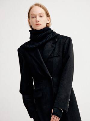 CASHMERE TURTLE NECK WARMER - BLACK