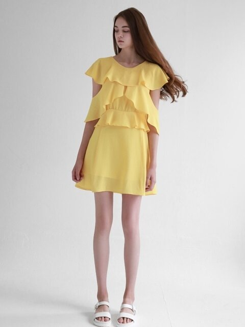 Ruffle Wing Chiffon Dress_Yellow