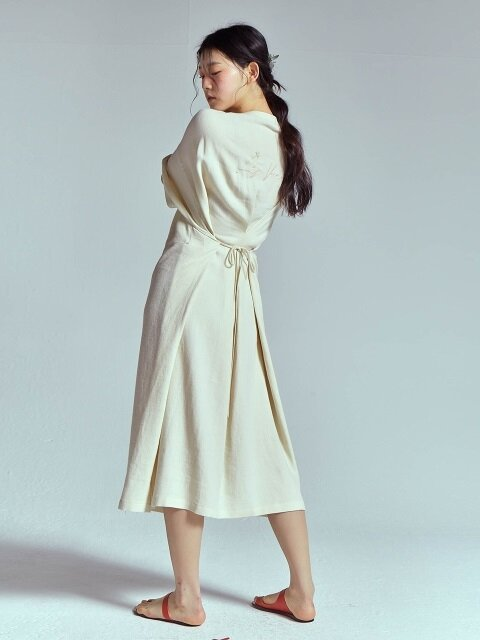 LINEN VERY LONG DRESS [IVORY]