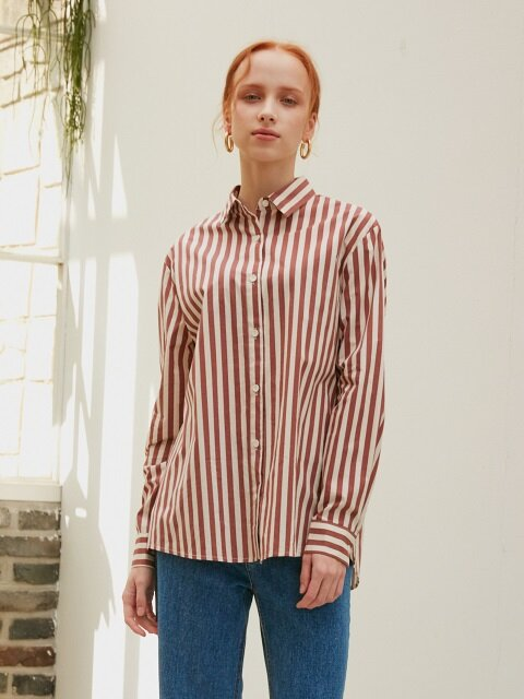 BACK SLIT SHIRTS_SALMON STRIPE