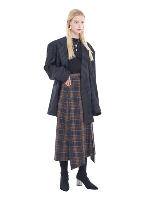 LONG UNBALANCED PLAID SKIRT _ RED