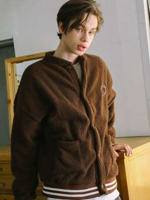 UNISEX NEEDLE WORK BOA FUR CARDIGAN_BROWN