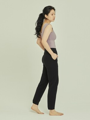straight pants-black