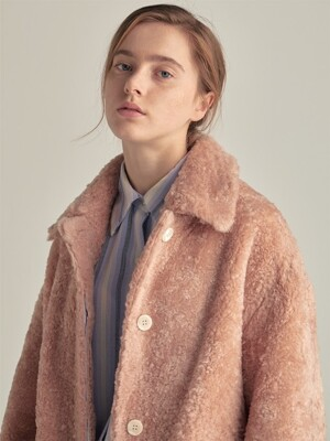 PEACH shearling effect maccoat(HJ047)