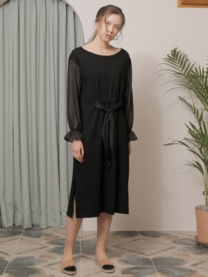 CHECK POINT SHIRRING ONE-PIECE_BLACK