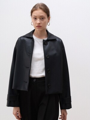 fake leather short jacket (black)