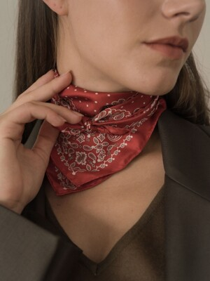 dot paisley silk scarf-red