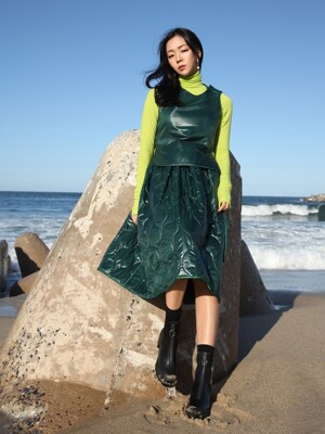 Reversible padded full skirt: Sap green