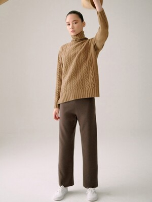 CAMEL CASHMERE 10 CABLE KNIT TOP