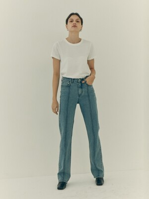 Messier Pin Tuck Straight Denim Pants / INDIGO Medium Wash