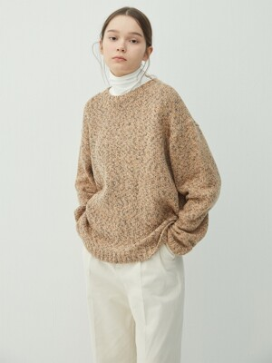 ORANGEBROWN mix crew neck knit (KT032)