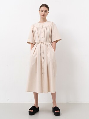 COTTON HALF-SLEEVE DRESS (BEIGE)