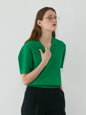 CURVED SLEEVE COLLAR KNIT - GREEN