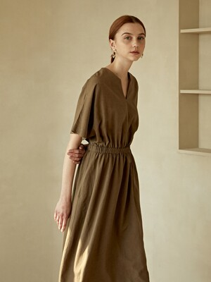 NATURAL LINEN LONG ONE-PIECE BROWN