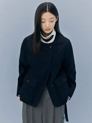 Signature Short Cocoon Trench Coat - Navy (KE0811M05R)