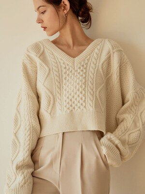 Cable Crop Wool Knit(Ivory)