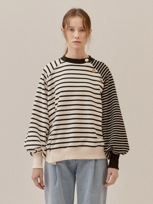 STRIPE BALLOON SLEEVE FLEECE LINED SWEATSHIRT_WHITE (EETZ4WSR01W)