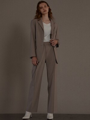 [Day-Wool] Single-breasted Belted Blazer + One Tuck Wide-Leg Trousers SET