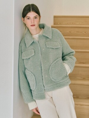 Eco Fur Jacket in Light Green