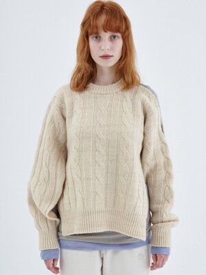 CABLE KNIT TOP, CREAM