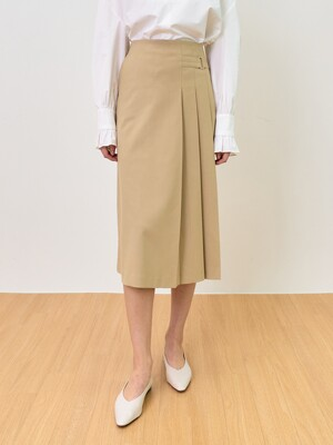 comos'474 one-sided pleats skirt (beige)