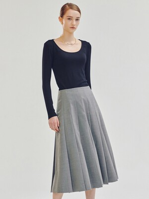 Mille Wool Pleated Skirt