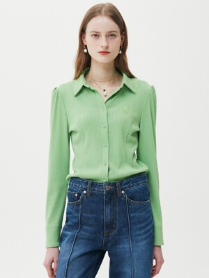 Ribbed Jersey Blouse / Apple Mint