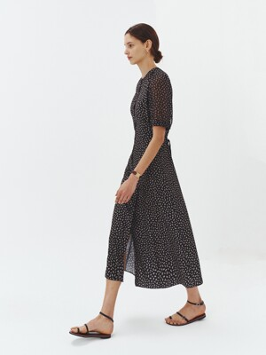 FLORAL BUTTONED LONG DRESS BLACK_UDDR1E211BK