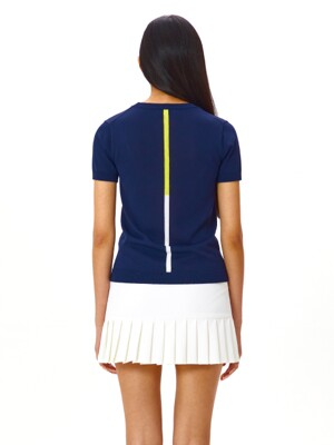 W Double Line Point Summer Knit Top_NAVY (HMD1)