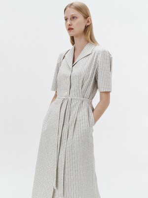 CHECKED BELTED JACKET DRESS CREAM_UDDR1E213CR