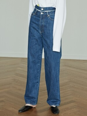 HIGH-WAIST WIDE-LEG DENIM PANTS (BLUE)