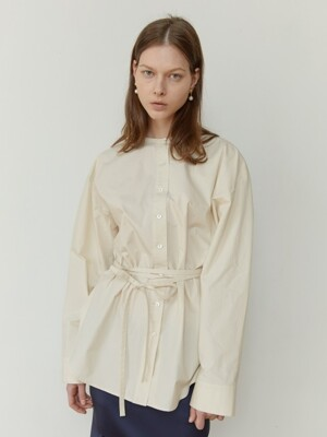 18FW OVER-SIZED TIE WAIST COTTON SHIRT (CREAM)