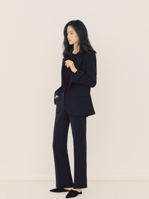 [Drama Collection] Slim Bootcut Trousers_NAVY