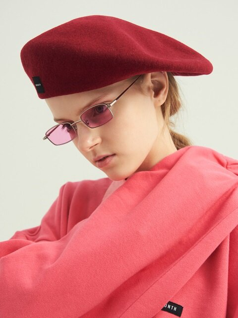 WOOL WIDE BERET (RED)