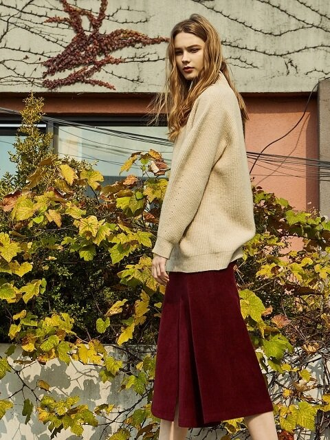 UNBAL CORDUROY SKIRT WINE