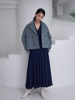crop pea jacket_haze blue