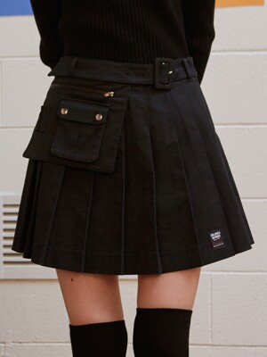 (SK-19541) BELT PLEAT SKIRT BLACK