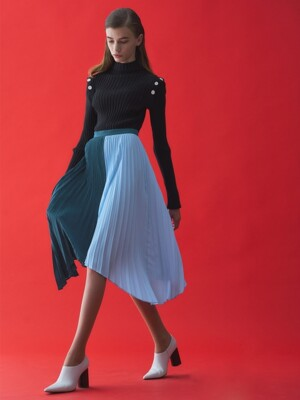 MIXED COLOR PLEATS SKIRT_BLUE