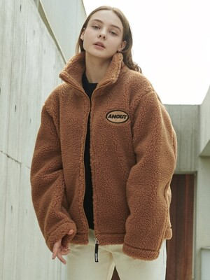 UNISEX DUMBLE LOGO ZIPPUP JACKET BROWN