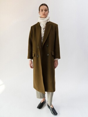 DOUBLE-BREASTED WOOL COAT (OLIVE KHAKI)