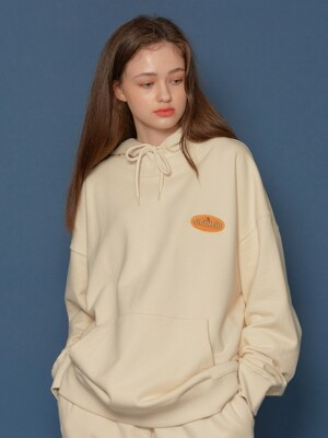 Leather Patch Hoodie (IVORY)