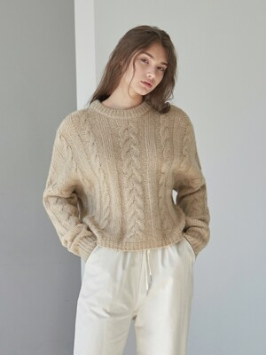 TWIST CROP SWEATER_BEIGE