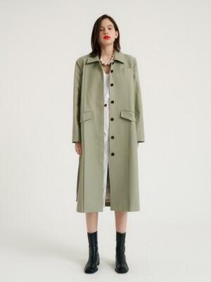 Square single trench coat_Mint khaki