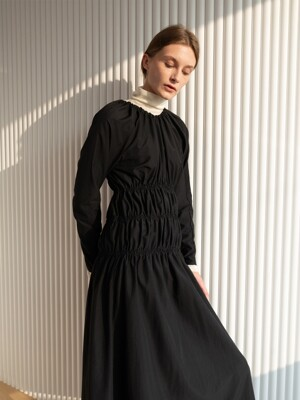 [ESSENTIAL] Shirring Dress Black