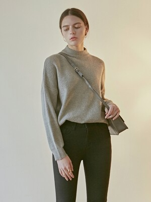 OVER MOCK NECK SWEATER_GRAY