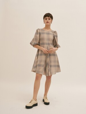 Two Way Volume Dress - Beige Check