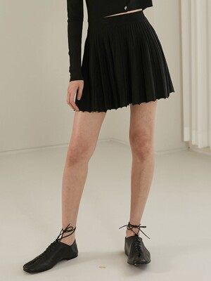 [BC20SSKN02]BANDING FLARE KNIT SKIRT[BLACK]